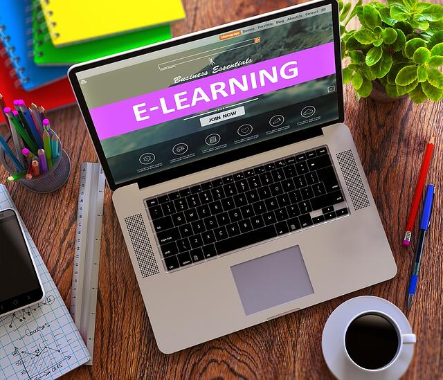 E-Learning on Laptop Screen. Online Working Concept..jpeg